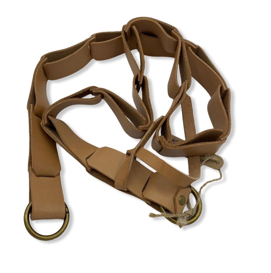 Ремень для сумки / Кожа/ на кольцах карабинах